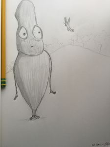 Some ideas are found through talking, some through writing, and some ideas are found through sketching. Like this guy and the terrifying butterfly who is clearly asking him questions that are WAY too personal!
